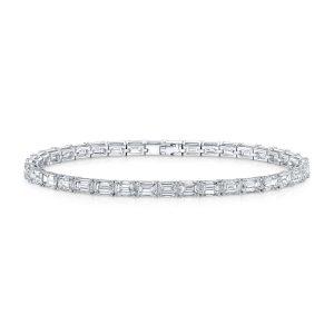 18 Karat Gold Emerald Cut Diamond Tennis Bracelet