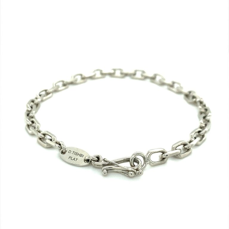 Platinum Elongated Links and Sapphire Charm Bracelet
