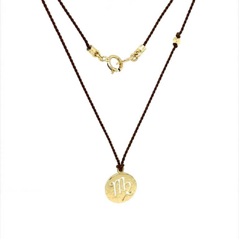 14 Karat Gold Virgo Zodiac Charm On Brown Silk