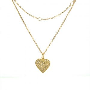 14 Karat Gold Micro Pave Heart Charm Necklace