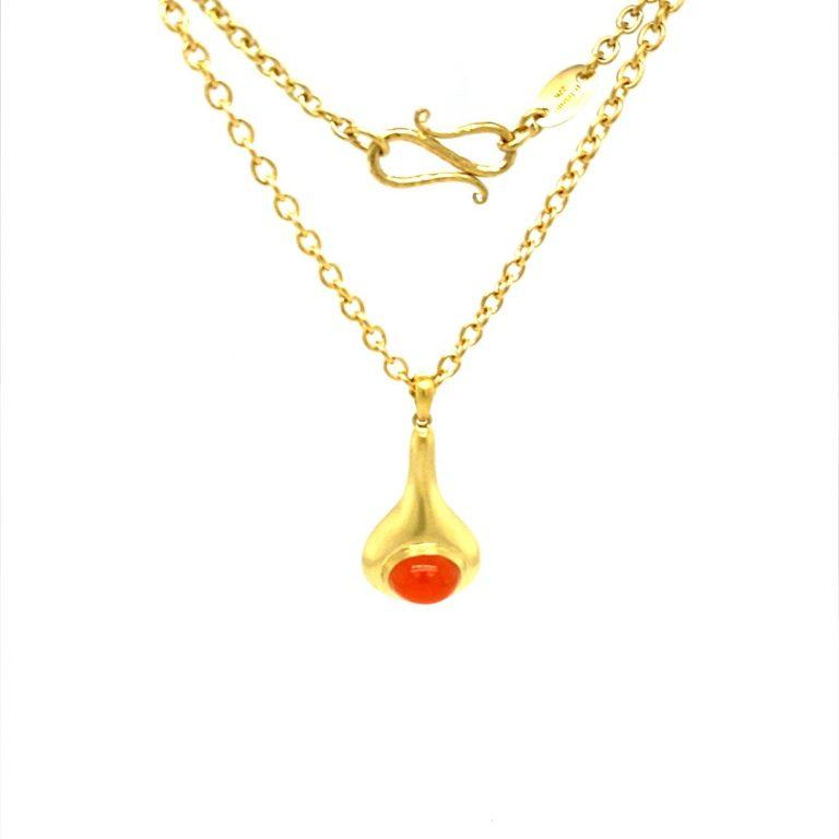 22 Karat Gold Oval Carnelian Necklace