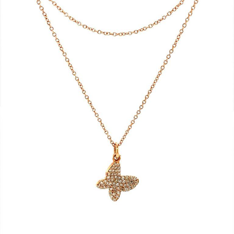 14 Karat Gold Micro Pave Butterfly Charm Necklace