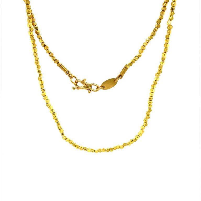 22 Karat Gold Nugget Beads Necklace