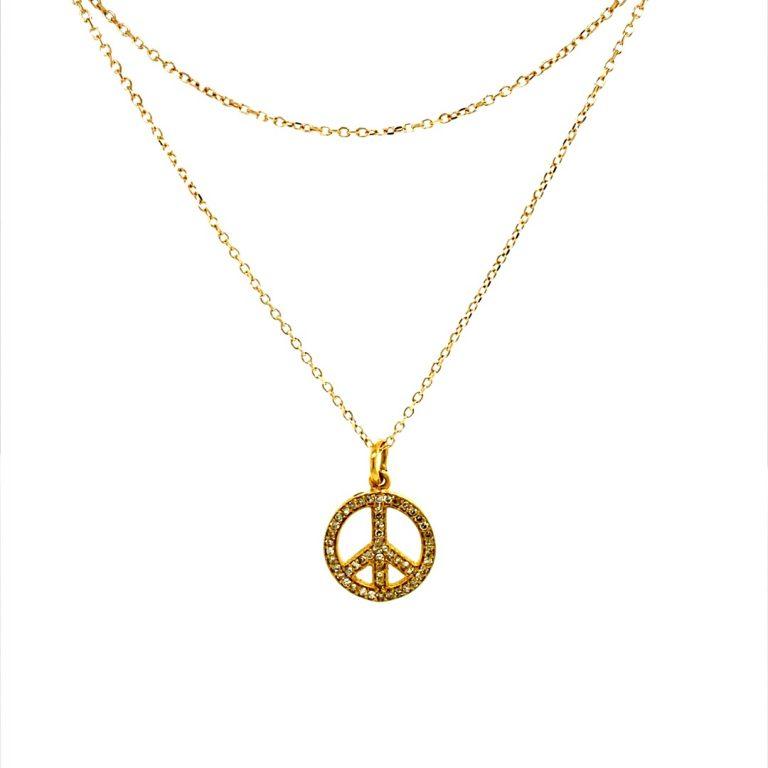 14 Karat Gold Micro Pave Peace Charm Necklace