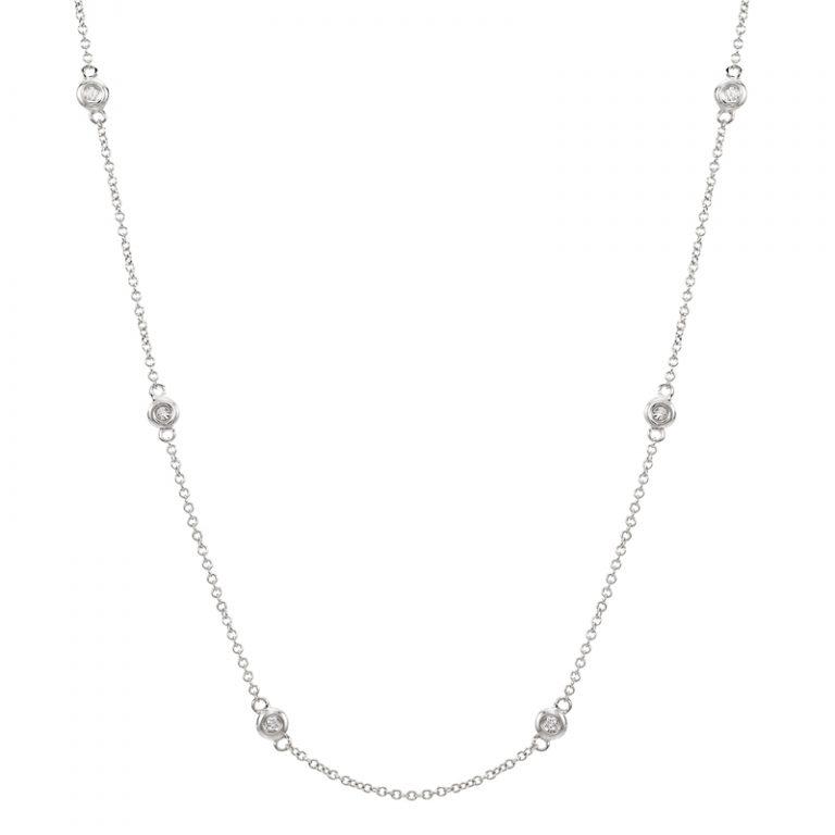 14 Karat White Gold Station Diamonds Necklace