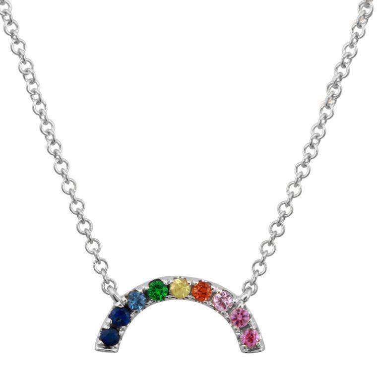 14 Karat White Gold Sapphire Rainbow Necklace