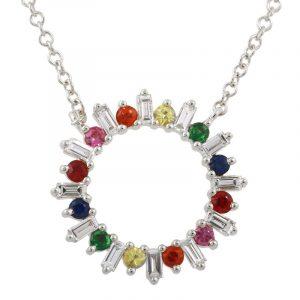 14 Karat White Gold Sapphire & Diamond Gemstones Necklace