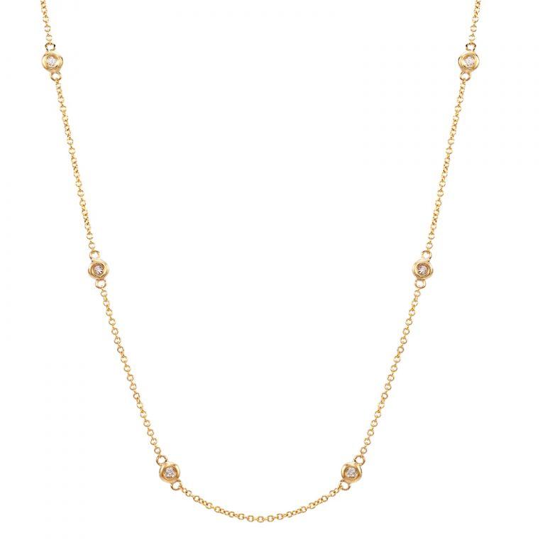 14 Karat Yellow Gold Station Diamonds Necklace