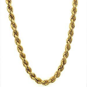 14 Karat Yellow Gold Light Weight Rope Chain