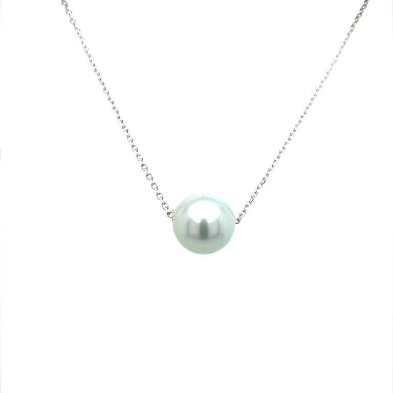 14 Karat White Gold Silver Tahitian Pearl Necklace