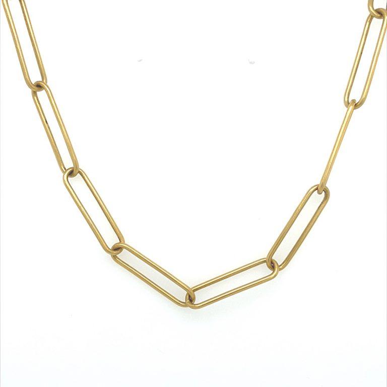 22 Karat & Platinum Paper Clip Necklace