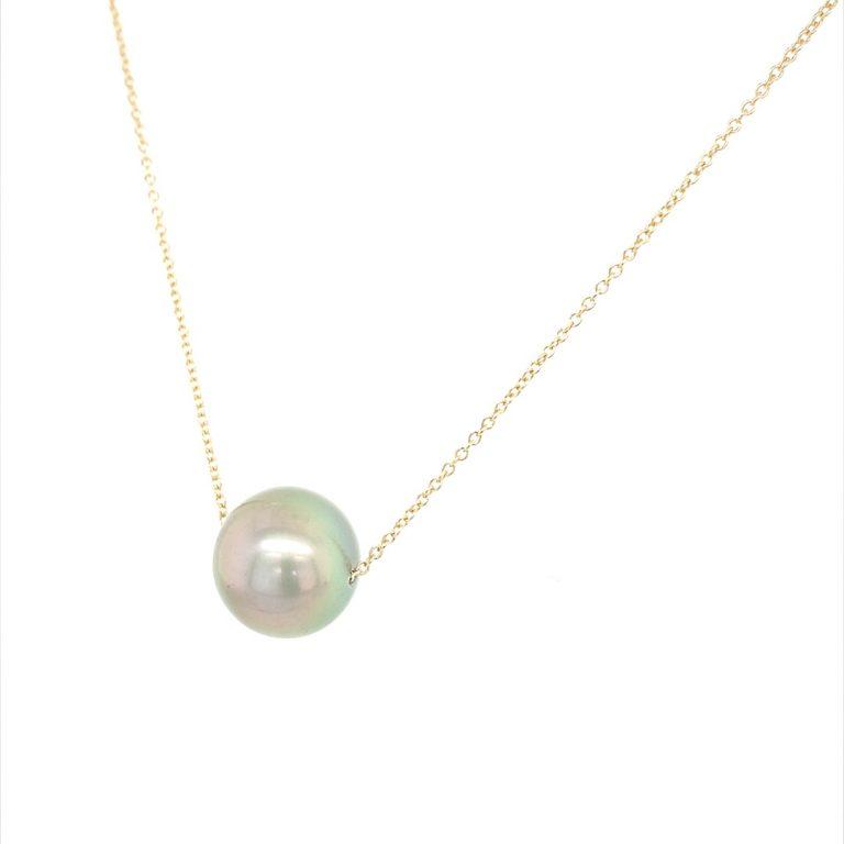 14 Karat Yellow Gold Tahitian Pearl Necklace