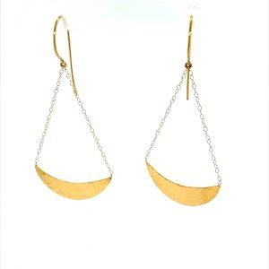 22 Karat Gold Hammered Crescent Chandeliers Earrings