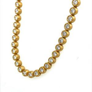 22 Karat Yellow Gold Diamond Bubbles Eternity Line Necklace