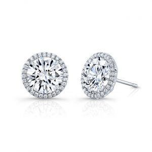 18 Karat White Gold Halo Diamond Stud Earrings